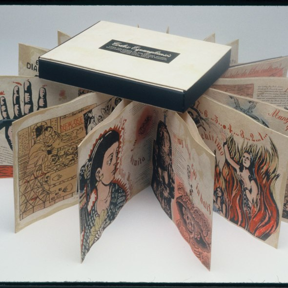 accordion-fold artists' book with interwoven text and images displayed in the round